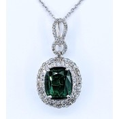 "Pendant .75ctw Round Diamonds 2.88ct Green Tourmaline 14kw 16"" SS Chain 121040009"