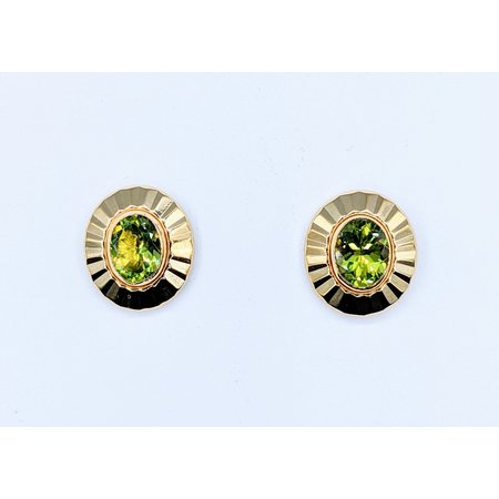 Earrings 6x8mm Oval Peridot 14ky 13x15mm 221040053
