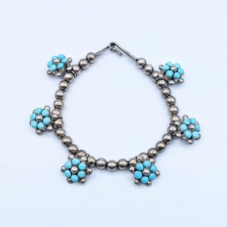 """Bracelet Native American Turquoise Silver 6.5"""" 121040198"""