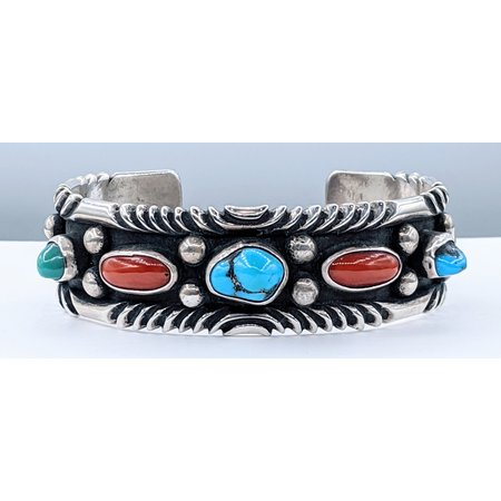 Bracelet Native American Turquoise & Coral Silver 121040192