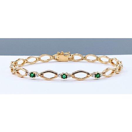 "Bracelet .18ctw Diamond .30ctw Emerald 14ky 7.5"" 121040125"
