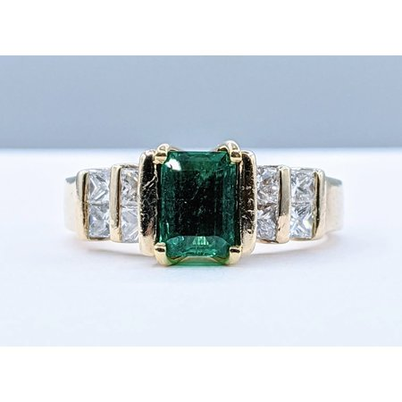 Marty Morales Ring .70ctw Princess Diamond 1.13ct Emerald 14ky Sz6.5 221050001