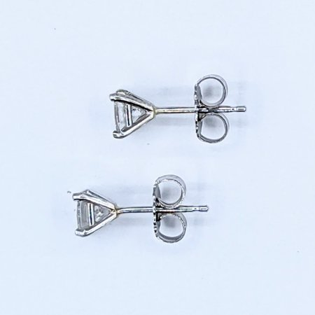 Earrings Studs .41ctw Princess Cut Diamonds 14kw 121050003