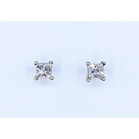 Earrings Studs .41ctw Princess Cut Diamonds 14kw 121050002