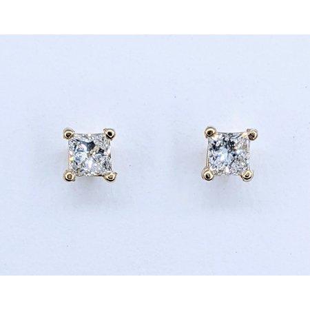Earrings Studs .37ctw Princess Cut Diamonds 14ky 121050008