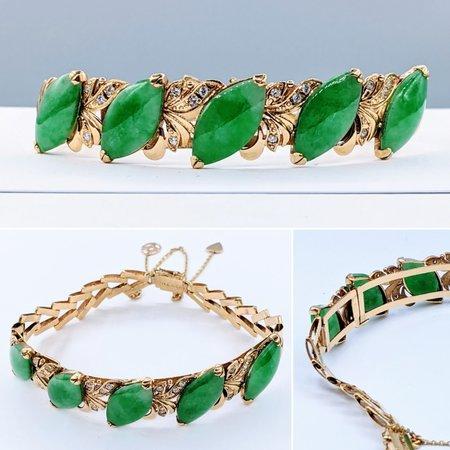 "Bracelet .20ctw Cubic Zirconia 18x9mm Nephrite Jade 18ky 6.5"" 121040147"