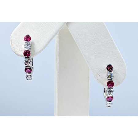 Earrings .33ctw Round Diamonds .36ctw Rubies 18kw 21mm 221050012