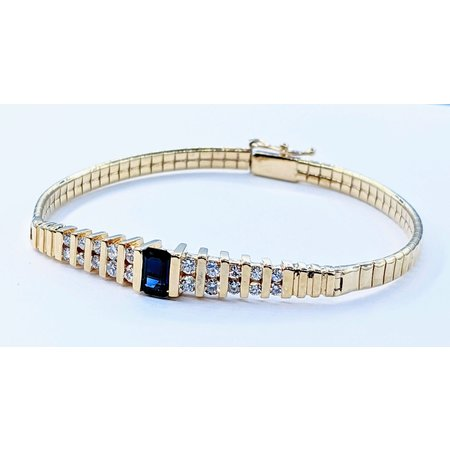 "Bracelet .50ctw Round Diamonds 6x4mm Sapphires 14ky 6.25"" 221050008"