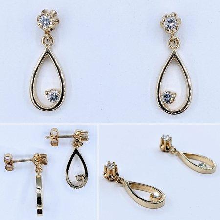 Earrings Dangle .20ctw Round Diamonds 14ky 21mm 221050009