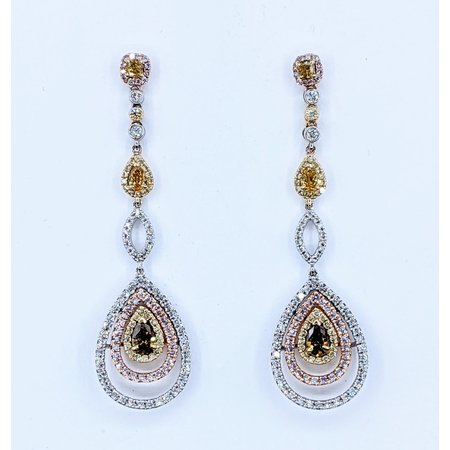 Earrings Dangle 2.33ctw Round Diamonds 14k Tri color 52mm 221050016