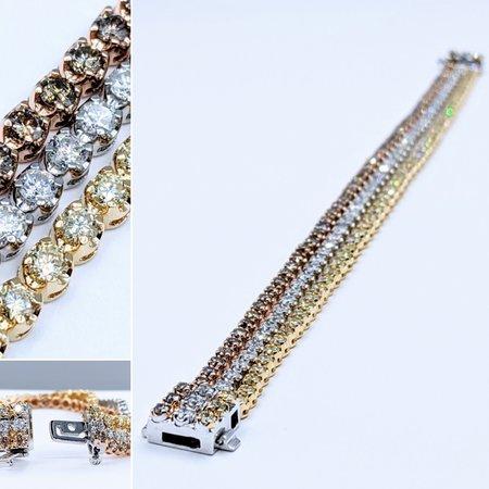 """Bracelet 3-Strand 8.29ctw Round Diamonds 18kw 7"""" 221050015"""