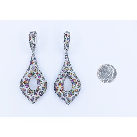 "Earrings Dangle 2.49ctw Round Diamonds Multi Color Sapphires 10.54ctw 18kw 2.75"" 221050039"