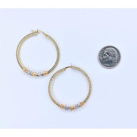 Earrings Hoops Tri Color 14ky 32mm CZ 121050031