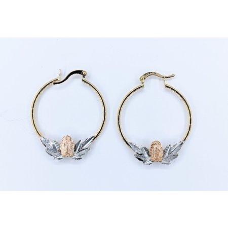 Earrings Hoops Tri Color 14ky 30mm 121050032