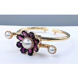 Bracelet Spring Cuff Lucien Piccard Garnet and Pearl 14ky 121060005
