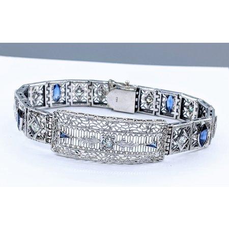 """Bracelet Art Deco 1.00ctw Round Diamonds 2.00ctw Synthetic Sapphires 14kw 7"""" 121060006"""