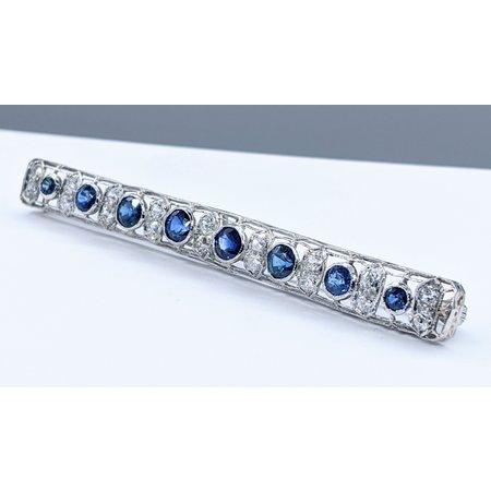 Brooch 1.0ctw Old Euro Round Diamonds 2.0ctw Sapphires Platinum 121060004
