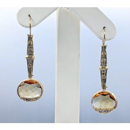 Earrings Dangle .33ctw Round Single Cut Diamonds 15x13mm Topaz 14ky 121060010