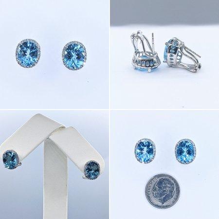 Earrings 14KW .31 DI 5.78. CT BLUE TOPAZ 121060035