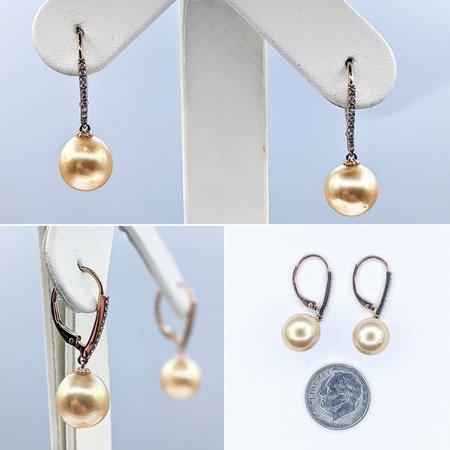 Earrings 14KR .10 DI 10-10.5 RD SOUTH YELLOW SEA PEARL 121060033