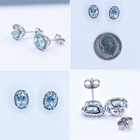 Earrings 14KW .15 DI 1.39 CT AQUA 121060030
