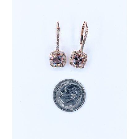 Earrings 14KR .36 DI 1.69 CT MORGANITE 121060069