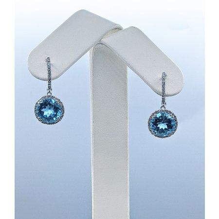 Earrings 14KW. .65 DI 9.24 CT BLUE TOPAZ 121060047