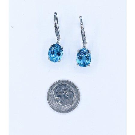 Earrings 14KW .09 DI 6.57. CT BLUE TOPAZ 121060051