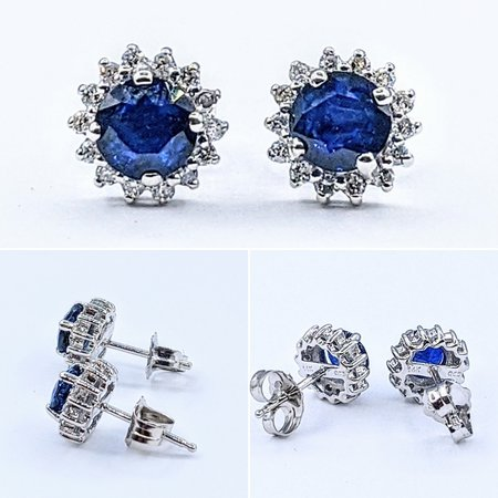 Earrings 14KW .21 DI 1.12 CT DIFFUSED SAPPHIRE 121060031