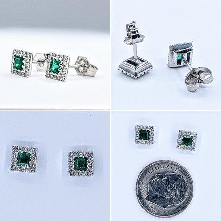 Earrings 14KW .12 DI .29 CT EMERALD 121060055
