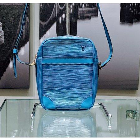 Handbag Louis Vuitton Danube Shoulder Bag Epi Leather Blue M45635 121060287