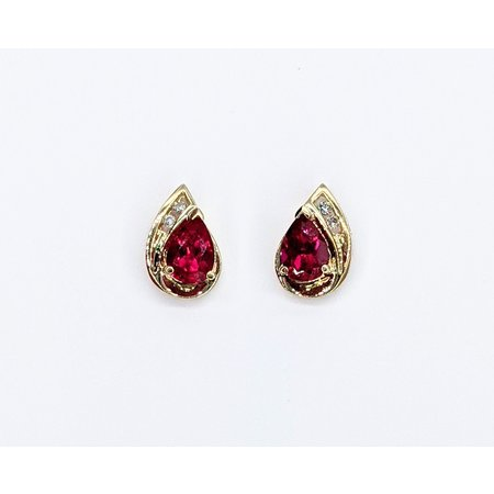 Earrings .03ctw Round Diamonds 7x4.2mm Synthetic Rub 10ky 221060012