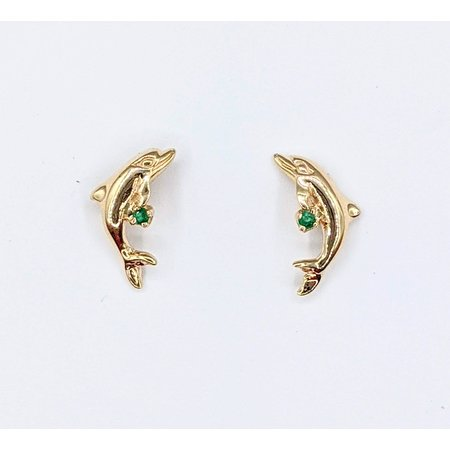 Earrings Dolphins .02ctw Emeralds 14ky 221060011