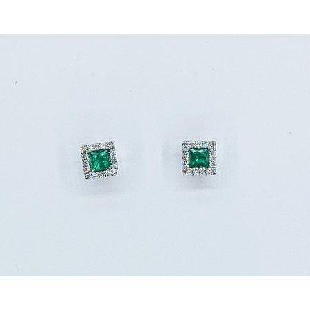 Earrings 14KW .23 DI .49 CT EMERALD 121060071