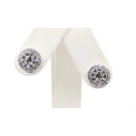 Earrings Cluster 1.94ctw Diamond 14kw 12x12mm 121050218
