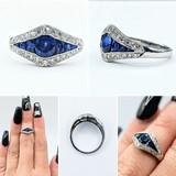 Ring .25ctw Round Diamonds .75ctw Sapphires Platinum Sz3.5 221070006