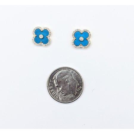 Earrings .18ctw Diamond .60ct Turquoise 14ky 10x10mm 121060413