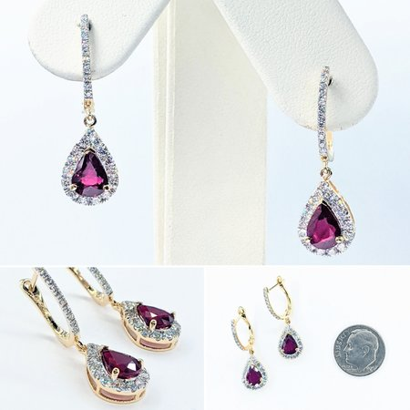 Earrings .65ctw Round Diamonds 2.04ctw No Heat Rubies 18ky 221070034