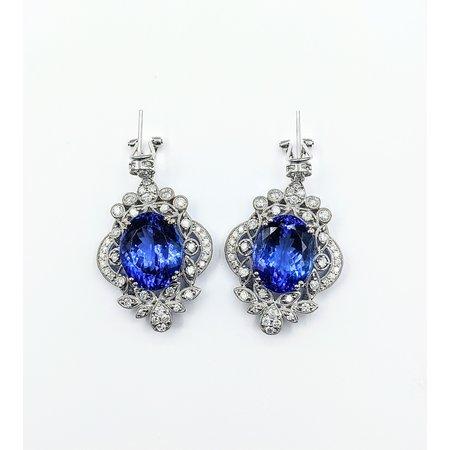 Earrings 2.15ctw Round Diamonds 29.69ctw Tanzanites 18kw 221070033