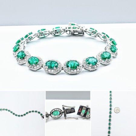 """Bracelet 2.78ctw Diamonds 11.31ctw Emeralds 14kw 7"""" 221070013"""