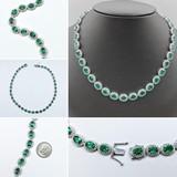 """Necklace 6.40ctw Round Diamonds 27.46ctw Emeralds 14kw 16.75"""" 221070022"""