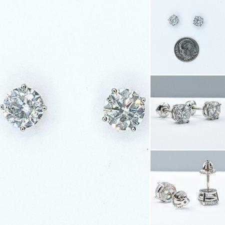 Earrings Stud 3.05ctw Round Diamonds 18kw 221070014