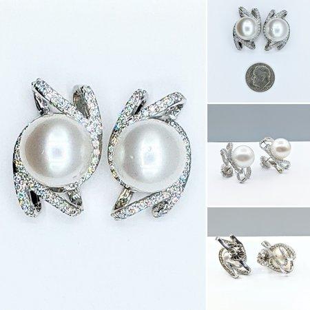 Earrings 1.13ctw Round Diamonds 13mm SS Pearls 14kw 221070016