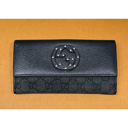 Handbag Gucci Long Wallet Black Canvas 121070004