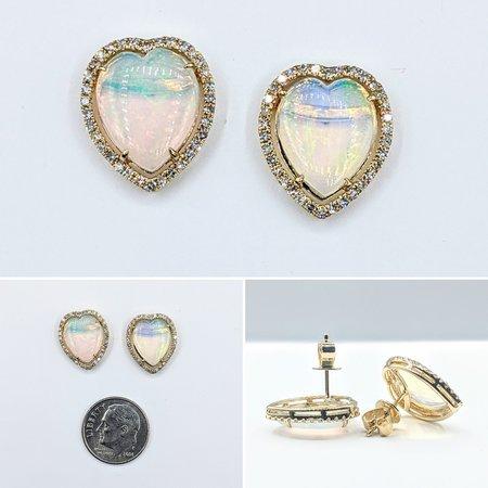 Earrings .34ctw Diamond 2.50ctw Opal 14ky 15x13mm 121060415
