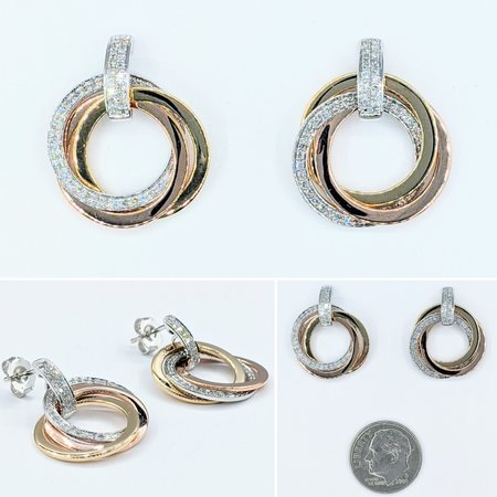 Earrings Circles .33ctw Round Diamonds 14ktri 221070060