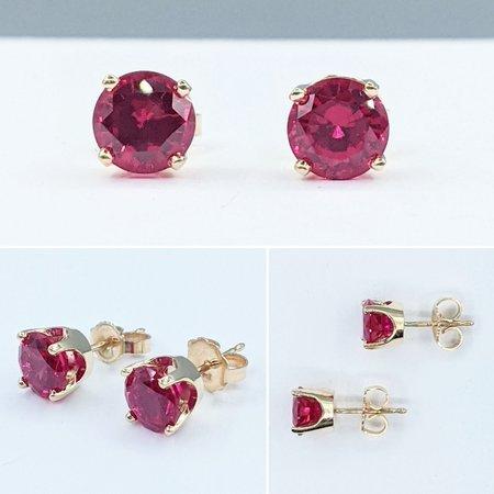 Earrings Stud 2.0ctw Round Lab Grown Rubies 14ky 221070056