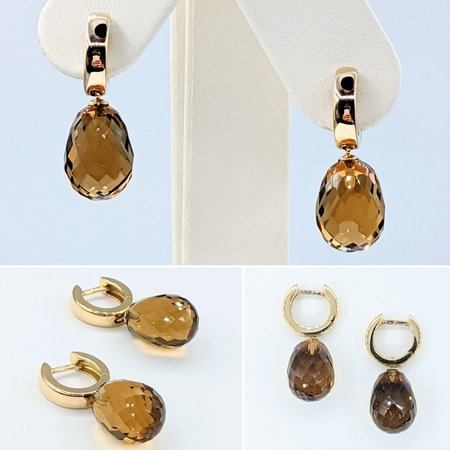 "Earrings 7ctw Quartz 18ky 1x.25"" 121070031"