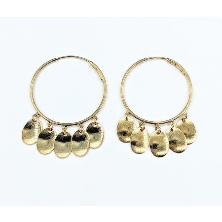 """Earrings Hoop Dangle 14ky 1"""" 121070030"""