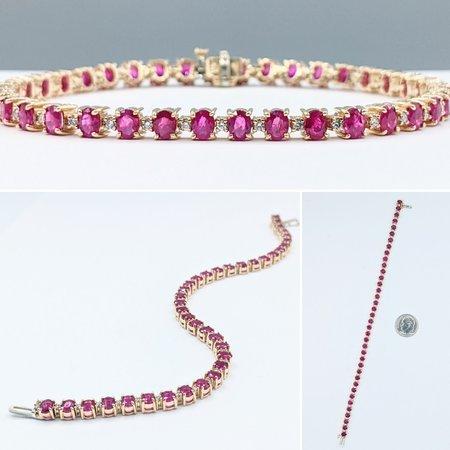 Bracelet .14ctw Round Diamonds 10ctw Rubies 14ky 7.25ctw 221070055